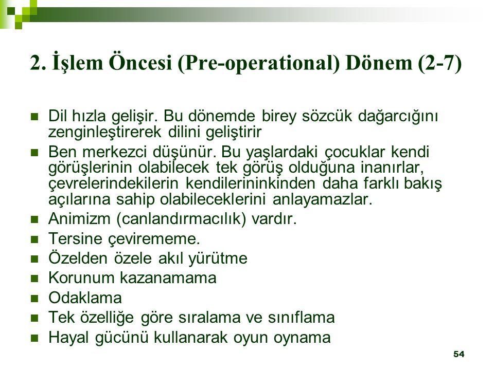 54 2.İşlem Öncesi (Pre-operational) Dönem (2-7) Dil hızla gelişir.