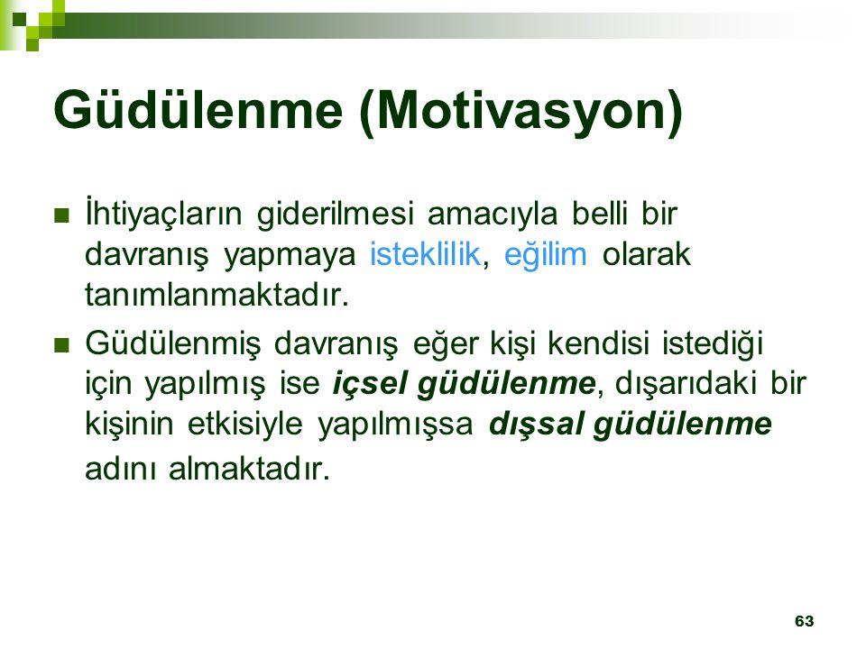 63 Güdülenme (Motivasyon) İhtiyaçların giderilmesi amacıyla belli bir davranış yapmaya isteklilik, eğilim olarak tanımlanmaktadır. Güdülenmiş davranış