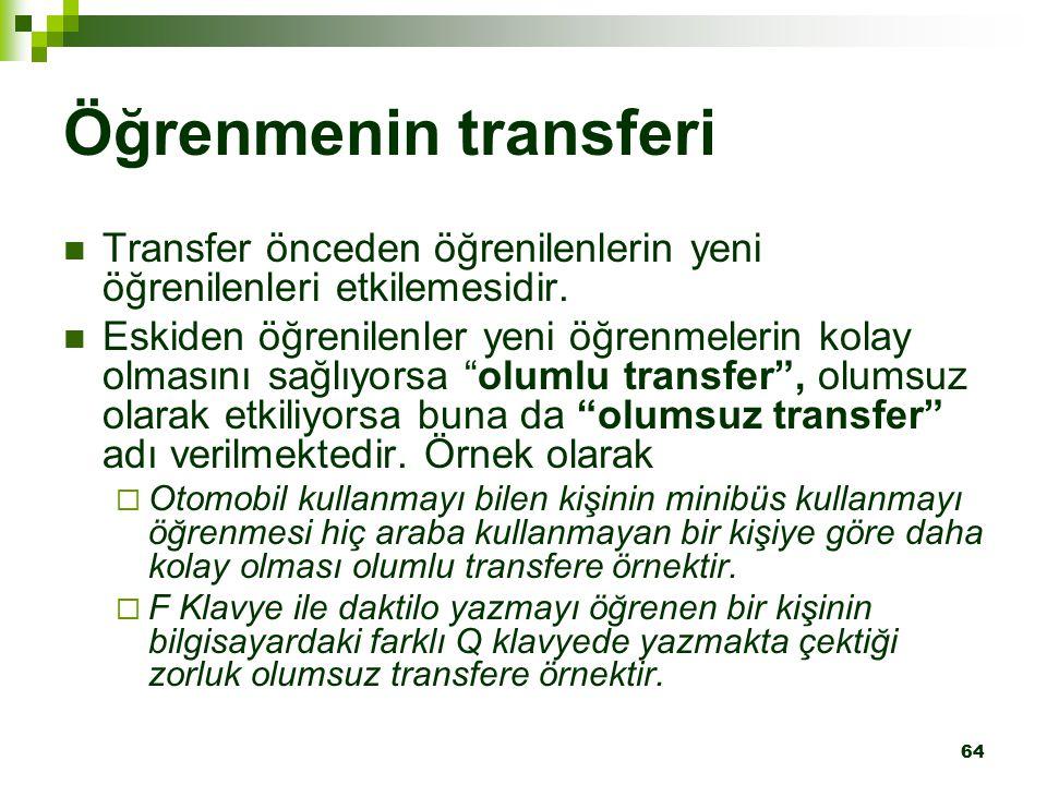 64 Öğrenmenin transferi Transfer önceden öğrenilenlerin yeni öğrenilenleri etkilemesidir. Eskiden öğrenilenler yeni öğrenmelerin kolay olmasını sağlıy