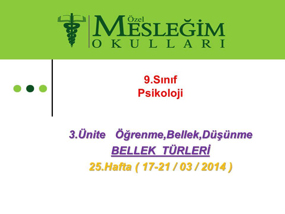 9.Sınıf Psikoloji 3.Ünite Öğrenme,Bellek,Düşünme BELLEK TÜRLERİ 25.Hafta ( 17-21 / 03 / 2014 )