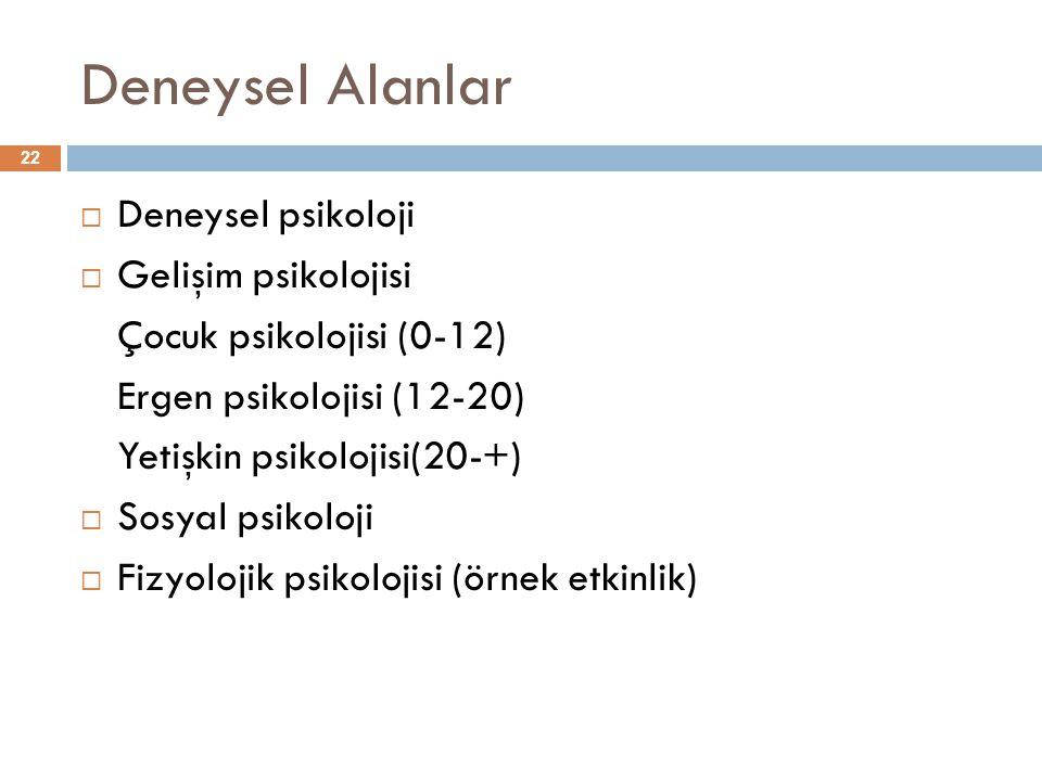 Deneysel Alanlar 22  Deneysel psikoloji  Gelişim psikolojisi Çocuk psikolojisi (0-12) Ergen psikolojisi (12-20) Yetişkin psikolojisi(20-+)  Sosyal
