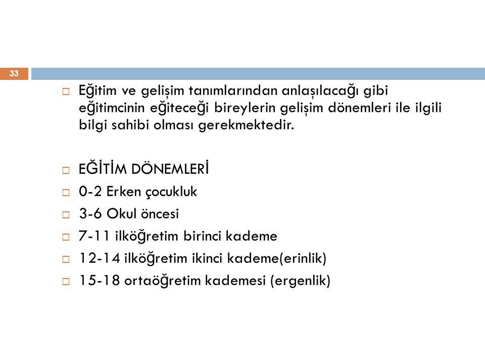 33  E ğ itim ve gelişim tanımlarından anlaşılaca ğ ı gibi e ğ itimcinin e ğ itece ğ i bireylerin gelişim dönemleri ile ilgili bilgi sahibi olması ger