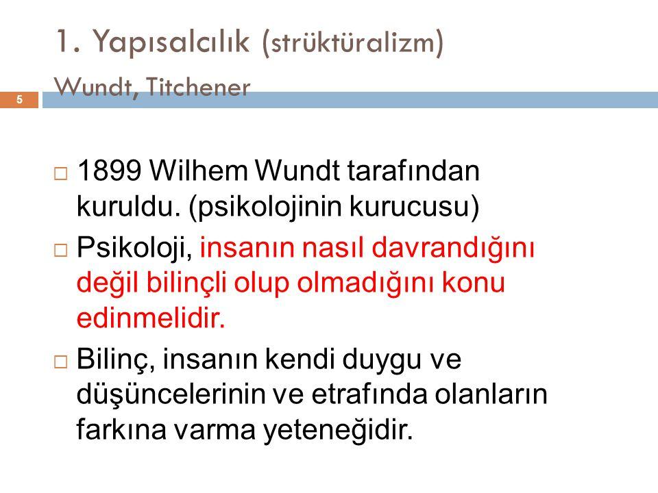 1. Yapısalcılık ( strüktüralizm ) Wundt, Titchener 5  1899 Wilhem Wundt tarafından kuruldu. (psikolojinin kurucusu)  Psikoloji, insanın nasıl davran