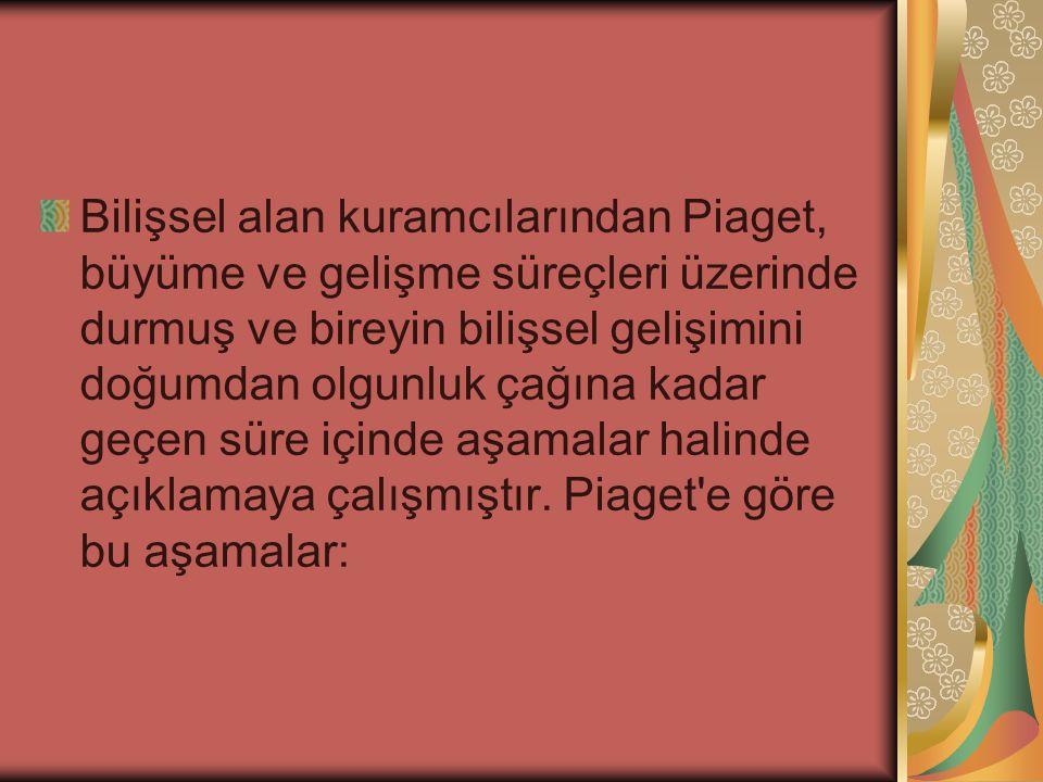 Bilişsel alan kuramcılarından Piaget, büyüme ve gelişme süreçleri üzerinde durmuş ve bireyin bilişsel gelişimini doğumdan olgunluk çağına kadar geçen