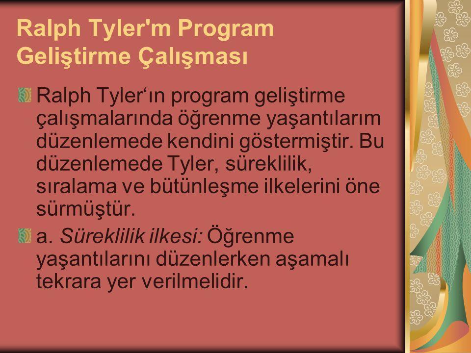 Ralph Tyler'm Program Geliştirme Çalışması Ralph Tyler'ın program geliştirme çalışmalarında öğrenme yaşantılarım düzenlemede kendini göstermiştir. Bu