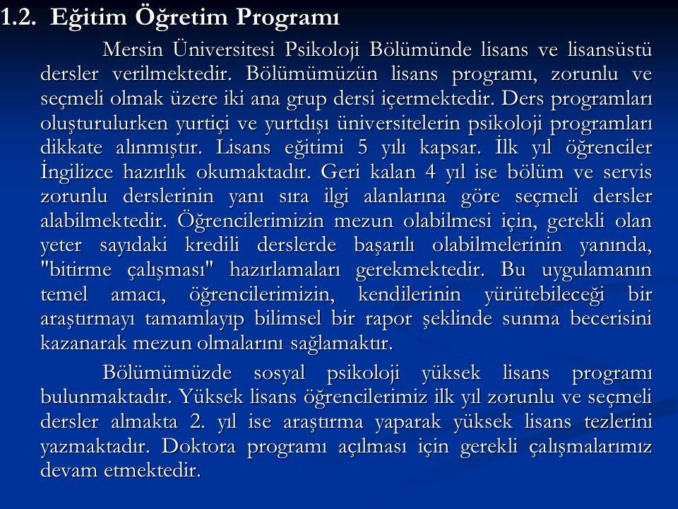 1.2. Eğitim Öğretim Programı Mersin Üniversitesi Psikoloji Bölümünde lisans ve lisansüstü dersler verilmektedir. Bölümümüzün lisans programı, zorunlu