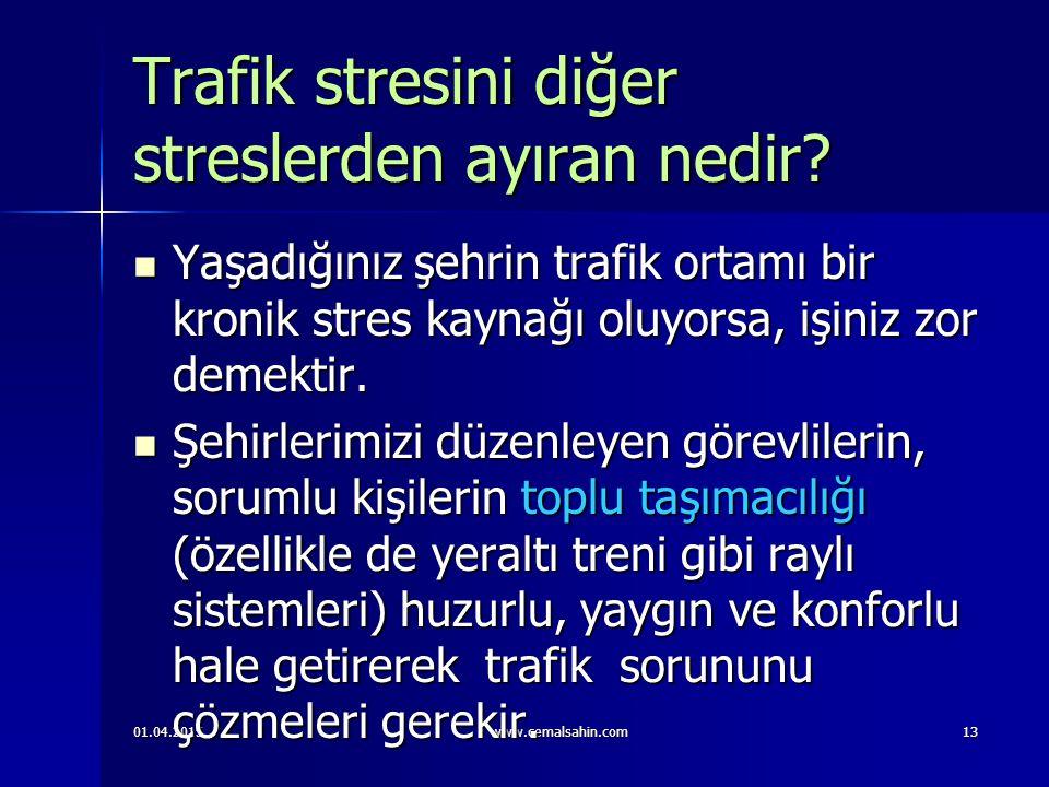 01.04.2015www.cemalsahin.com13 Trafik stresini diğer streslerden ayıran nedir.