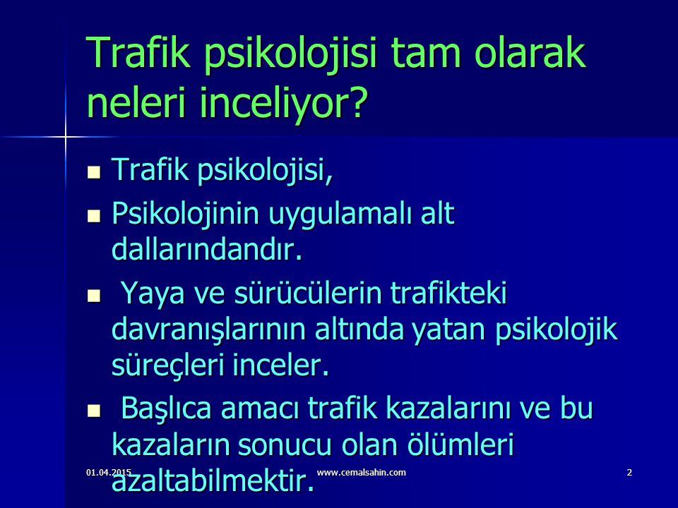 01.04.2015www.cemalsahin.com3 Trafik psikoloji çalışma alanları nelerdir .