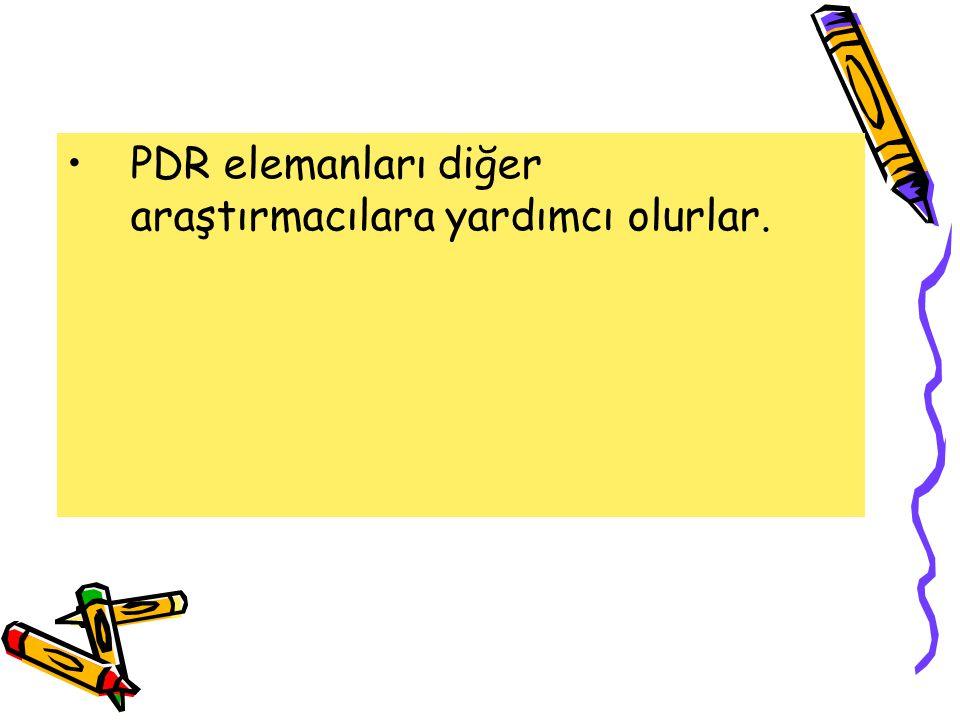 PDR elemanları diğer araştırmacılara yardımcı olurlar.