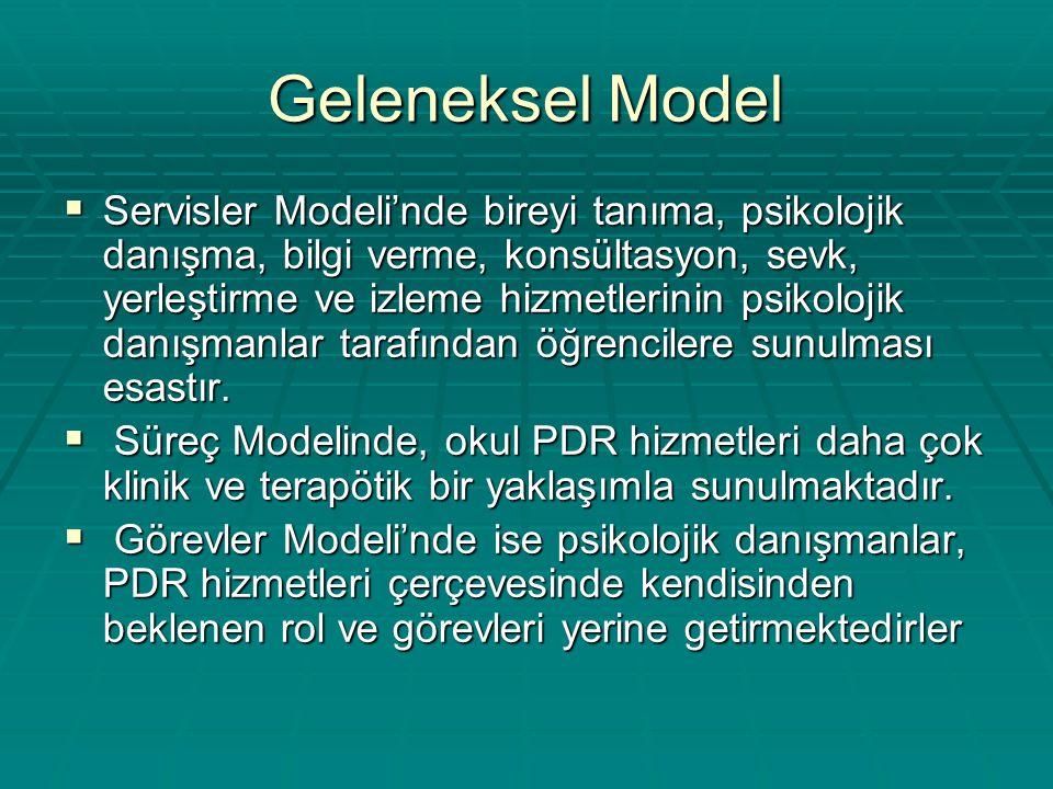 Geleneksel Model  Servisler Modeli'nde bireyi tanıma, psikolojik danışma, bilgi verme, konsültasyon, sevk, yerleştirme ve izleme hizmetlerinin psikol