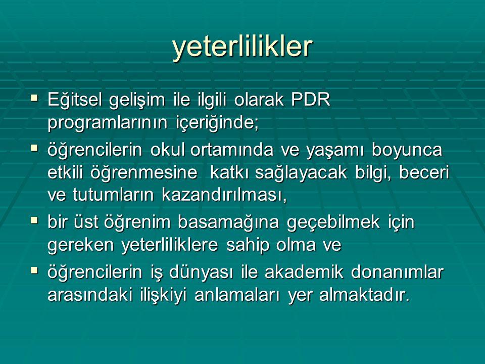 yeterlilikler  Eğitsel gelişim ile ilgili olarak PDR programlarının içeriğinde;  öğrencilerin okul ortamında ve yaşamı boyunca etkili öğrenmesine ka