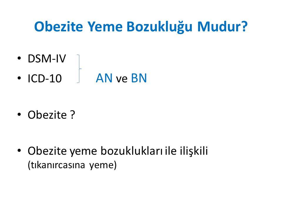 Obezite Yeme Bozukluğu Mudur? DSM-IV ICD-10 AN ve BN Obezite ? Obezite yeme bozuklukları ile ilişkili (tıkanırcasına yeme)