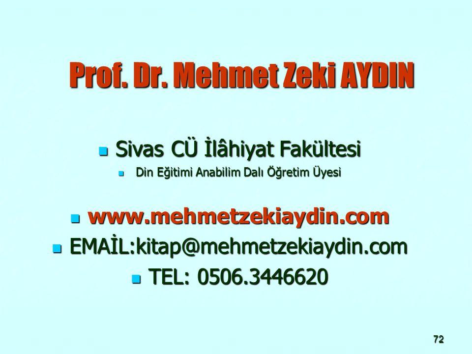 72 Prof. Dr. Mehmet Zeki AYDIN Prof. Dr. Mehmet Zeki AYDIN Sivas CÜ İlâhiyat Fakültesi Sivas CÜ İlâhiyat Fakültesi Din Eğitimi Anabilim Dalı Öğretim Ü
