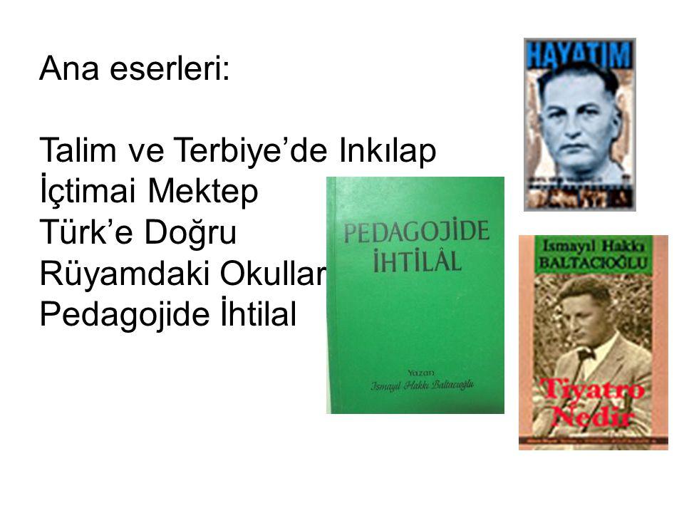 Ana eserleri: Talim ve Terbiye'de Inkılap İçtimai Mektep Türk'e Doğru Rüyamdaki Okullar Pedagojide İhtilal