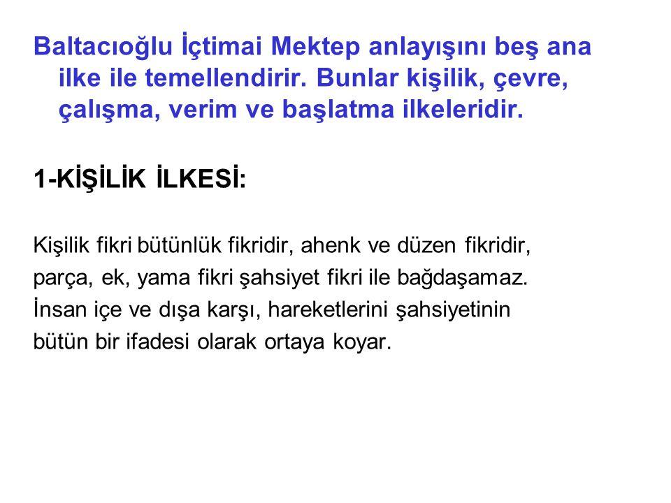 Baltacıoğlu İçtimai Mektep anlayışını beş ana ilke ile temellendirir.
