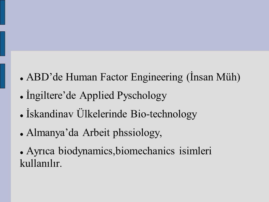 ABD'de Human Factor Engineering (İnsan Müh) İngiltere'de Applied Pyschology İskandinav Ülkelerinde Bio-technology Almanya'da Arbeit phssiology, Ayrıca