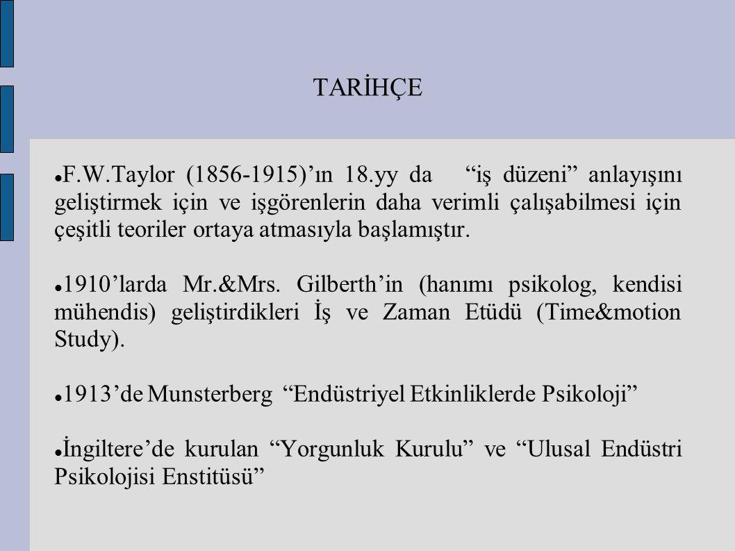 """TARİHÇE F.W.Taylor (1856-1915)'ın 18.yy da """"iş düzeni"""" anlayışını geliştirmek için ve işgörenlerin daha verimli çalışabilmesi için çeşitli teoriler or"""