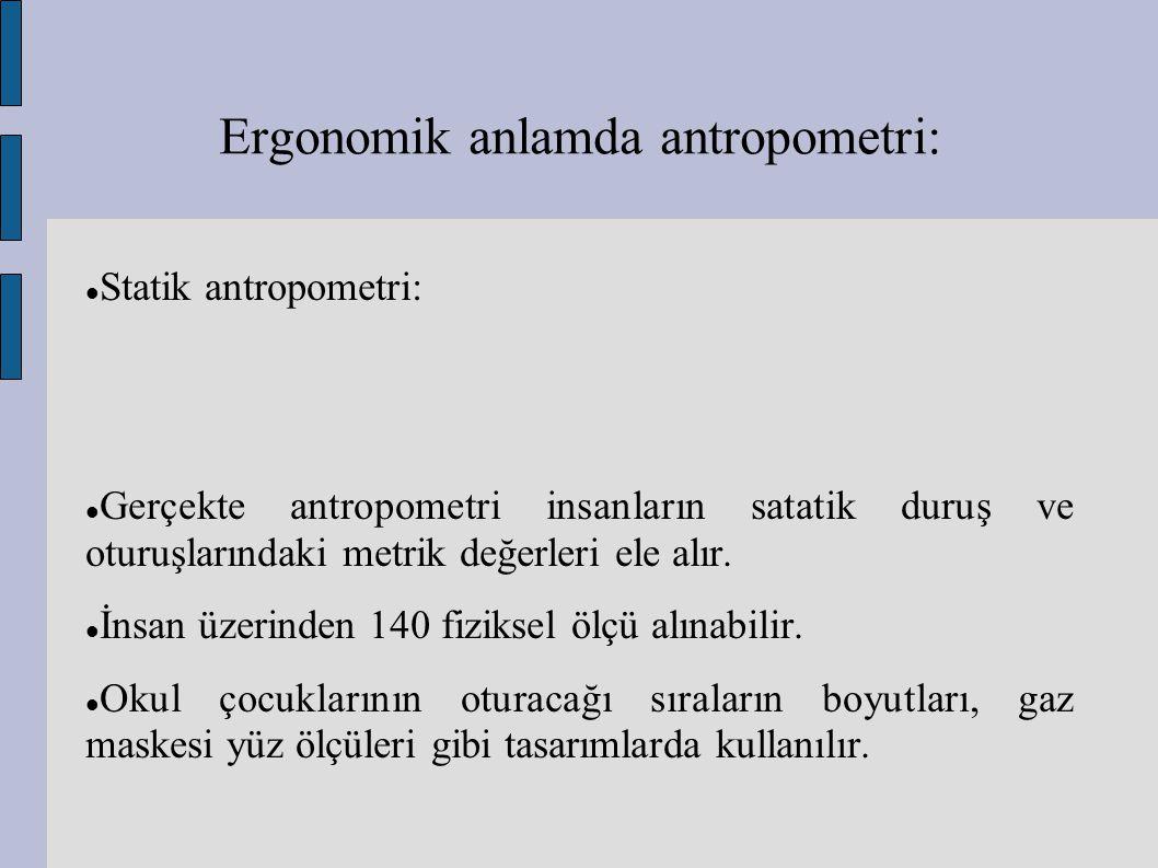 Ergonomik anlamda antropometri: Statik antropometri: Gerçekte antropometri insanların satatik duruş ve oturuşlarındaki metrik değerleri ele alır. İnsa