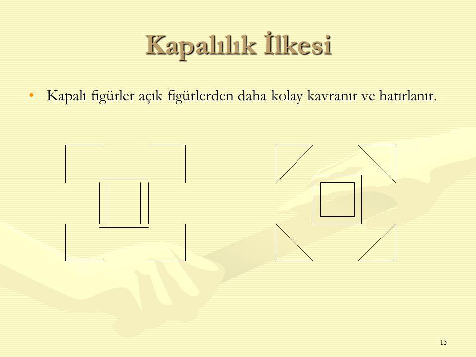 15 Kapalılık İlkesi Kapalı figürler açık figürlerden daha kolay kavranır ve hatırlanır.Kapalı figürler açık figürlerden daha kolay kavranır ve hatırla