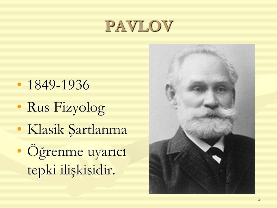 2 PAVLOV 1849-19361849-1936 Rus FizyologRus Fizyolog Klasik ŞartlanmaKlasik Şartlanma Öğrenme uyarıcı tepki ilişkisidir.Öğrenme uyarıcı tepki ilişkisi