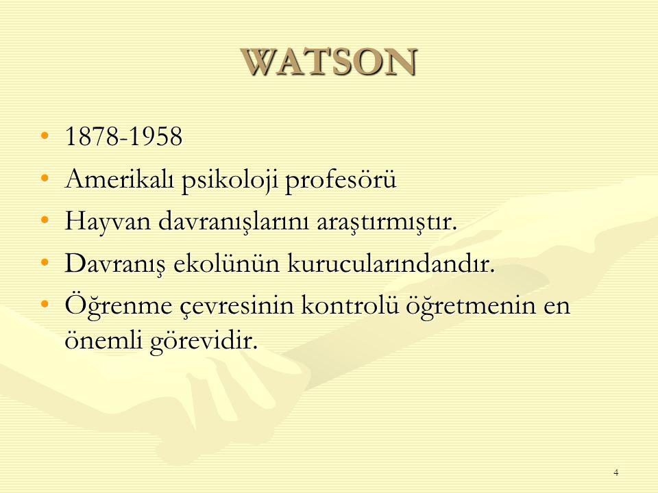 4 WATSON 1878-19581878-1958 Amerikalı psikoloji profesörüAmerikalı psikoloji profesörü Hayvan davranışlarını araştırmıştır.Hayvan davranışlarını araşt