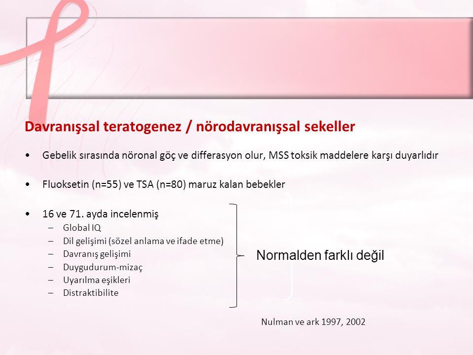 Örnek 3: Örnek 3: Son trimesterde antidepresan kullanımı Antidepresan ilaç kullanımı süresi Tek ilaç – çoğul ilaç .