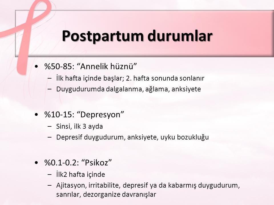 Postpartum durumları tarama Edinburgh Postnatal Depresyon ölçeğiEdinburgh Postnatal Depresyon ölçeği –10 maddelik öz-bildirim ölçeği