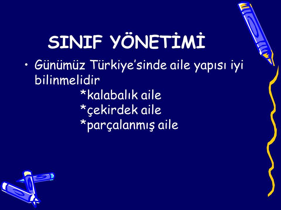 Günümüz Türkiye'sinde aile yapısı iyi bilinmelidir *kalabalık aile *çekirdek aile *parçalanmış aile SINIF YÖNETİMİ