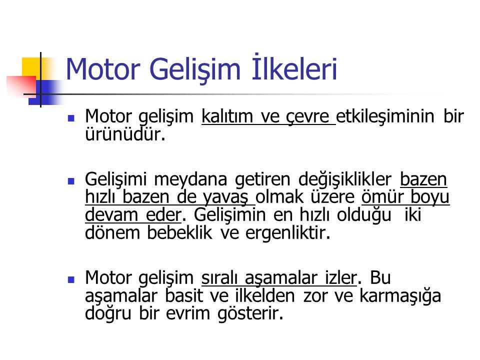 Motor Gelişim İlkeleri Motor gelişim kalıtım ve çevre etkileşiminin bir ürünüdür. Gelişimi meydana getiren değişiklikler bazen hızlı bazen de yavaş ol