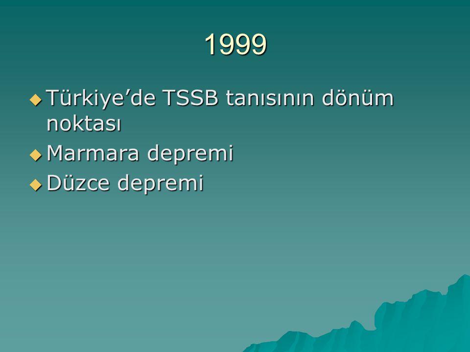 1999  Türkiye'de TSSB tanısının dönüm noktası  Marmara depremi  Düzce depremi