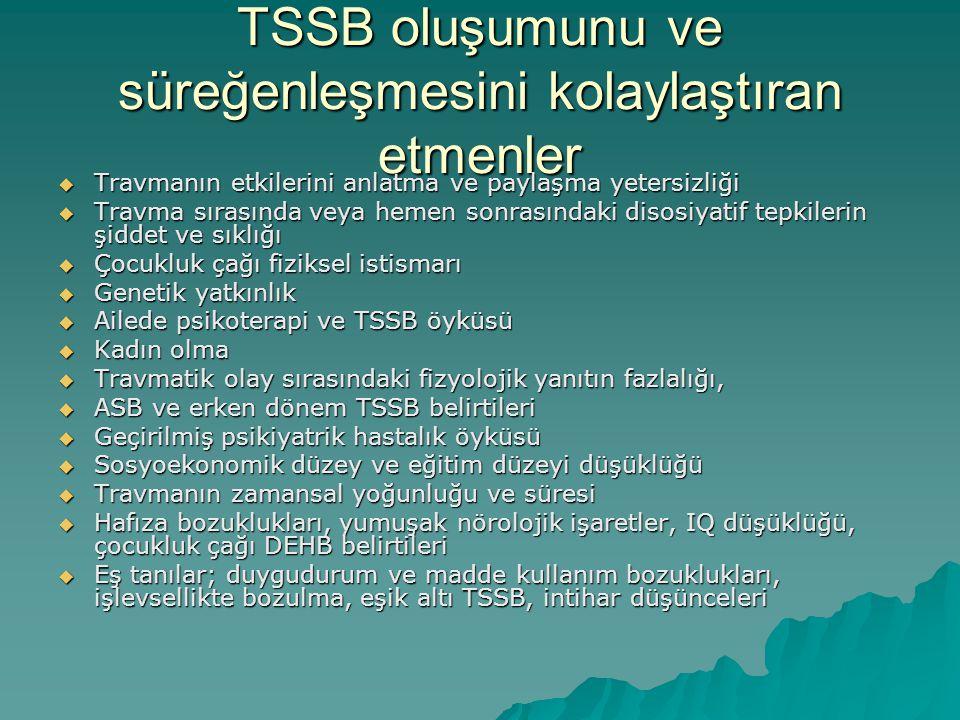 TSSB oluşumunu ve süreğenleşmesini kolaylaştıran etmenler  Travmanın etkilerini anlatma ve paylaşma yetersizliği  Travma sırasında veya hemen sonras