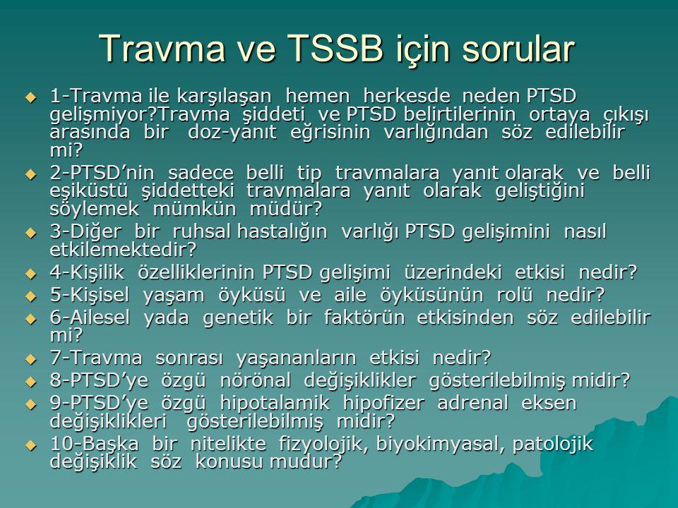 Travma ve TSSB için sorular  1-Travma ile karşılaşan hemen herkesde neden PTSD gelişmiyor?Travma şiddeti ve PTSD belirtilerinin ortaya çıkışı arasınd