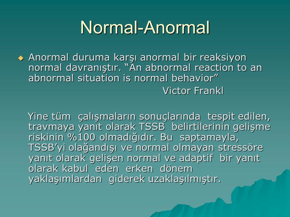 "Normal-Anormal  Anormal duruma karşı anormal bir reaksiyon normal davranıştır. ""An abnormal reaction to an abnormal situation is normal behavior"" Vic"