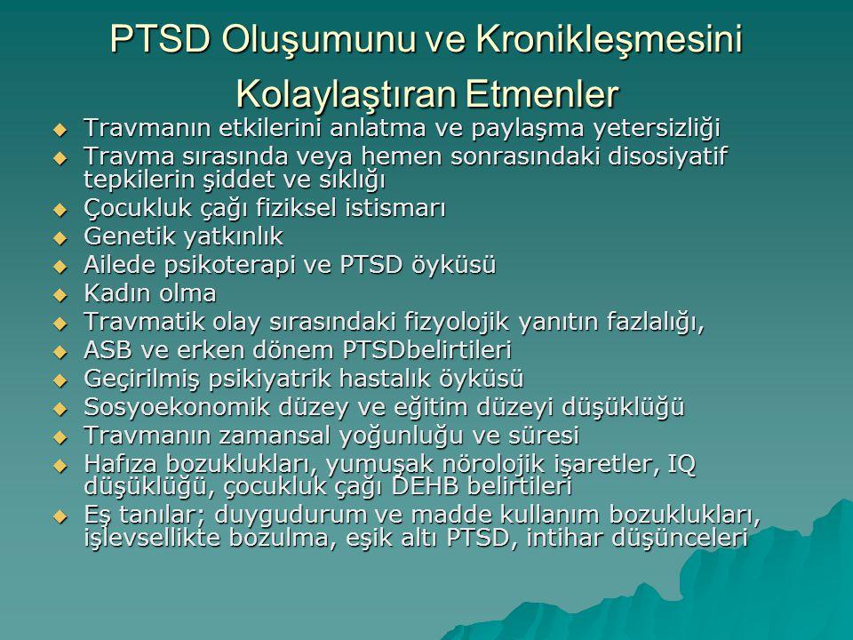 PTSD Oluşumunu ve Kronikleşmesini Kolaylaştıran Etmenler  Travmanın etkilerini anlatma ve paylaşma yetersizliği  Travma sırasında veya hemen sonrası