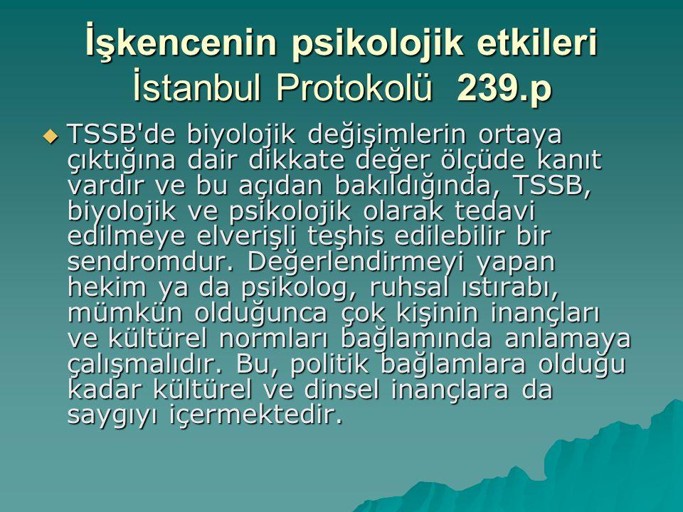 İşkencenin psikolojik etkileri İstanbul Protokolü 239.p  TSSB'de biyolojik değişimlerin ortaya çıktığına dair dikkate değer ölçüde kanıt vardır ve bu