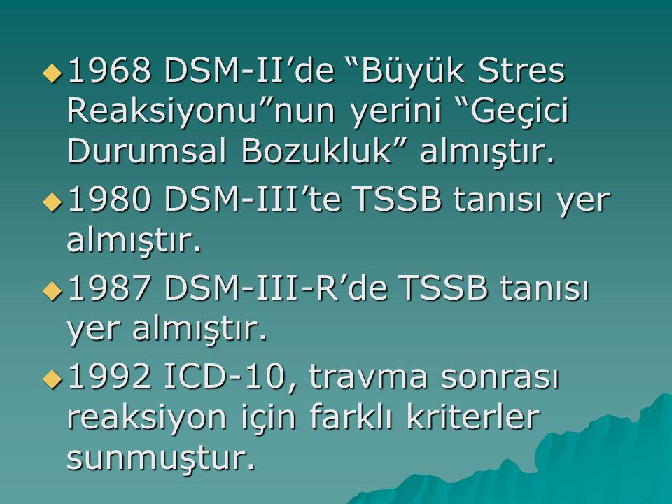 """ 1968 DSM-II'de """"Büyük Stres Reaksiyonu""""nun yerini """"Geçici Durumsal Bozukluk"""" almıştır.  1980 DSM-III'te TSSB tanısı yer almıştır.  1987 DSM-III-R'"""