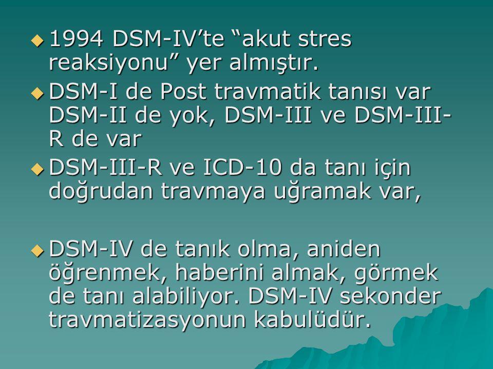 DSM IV TR 309.81 Travma Sonrası Stres Bozukluğu  Aşağıdakilerden her ikisinin de bulunduğu bir biçimde kişi travmatik bir olayla karşılaşmıştır  Kişi, gerçek bir ölüm ya da ölüm tehdidi, ağır bir yaralanma ya da kendisinin ya da başkalarının fizik bütünlüğüne bir tehdit olayını yaşamış, böyle bir olaya tanık olmuş ya da böyle bir olayla karşı karşıya gelmiştir  Kişinin tepkileri arasında aşırı korku, çaresizlik ya da dehşete düşme vardır.