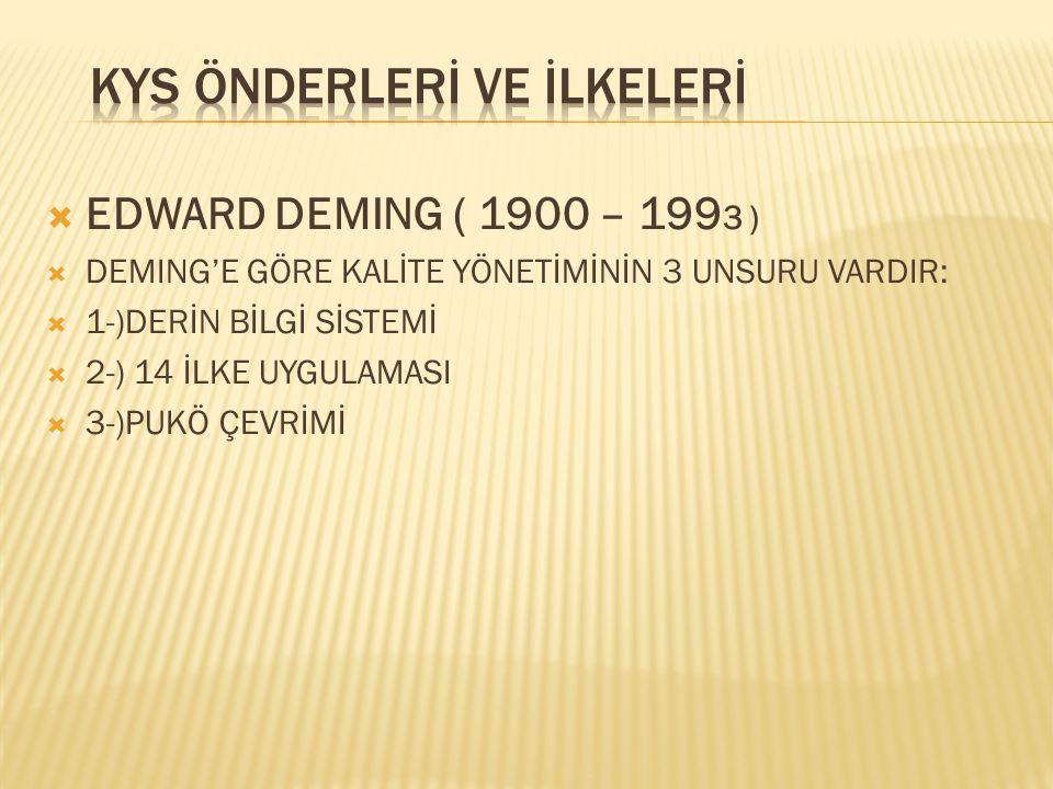  EDWARD DEMING ( 1900 – 199 3 )  DEMING'E GÖRE KALİTE YÖNETİMİNİN 3 UNSURU VARDIR:  1-)DERİN BİLGİ SİSTEMİ  2-) 14 İLKE UYGULAMASI  3-)PUKÖ ÇEVRİMİ