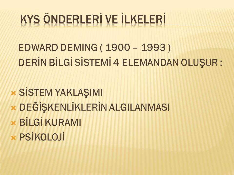EDWARD DEMING ( 1900 – 1993 ) DERİN BİLGİ SİSTEMİ 4 ELEMANDAN OLUŞUR :  SİSTEM YAKLAŞIMI  DEĞİŞKENLİKLERİN ALGILANMASI  BİLGİ KURAMI  PSİKOLOJİ