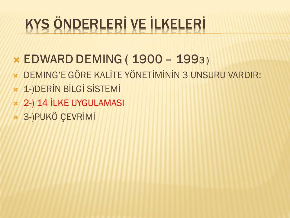  EDWARD DEMING ( 1900 – 199 3 )  DEMING'E GÖRE KALİTE YÖNETİMİNİN 3 UNSURU VARDIR:  1-)DERİN BİLGİ SİSTEMİ  2-) 14 İLKE UYGULAMASI  3-)PUKÖ ÇEVRİ