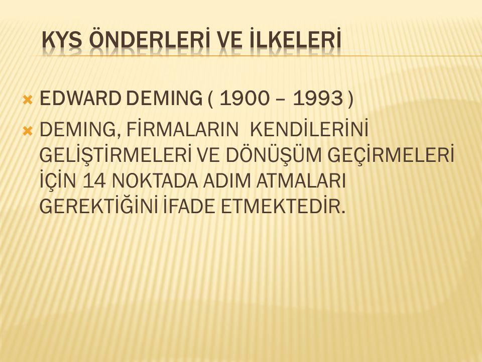  EDWARD DEMING ( 1900 – 1993 )  DEMING, FİRMALARIN KENDİLERİNİ GELİŞTİRMELERİ VE DÖNÜŞÜM GEÇİRMELERİ İÇİN 14 NOKTADA ADIM ATMALARI GEREKTİĞİNİ İFADE