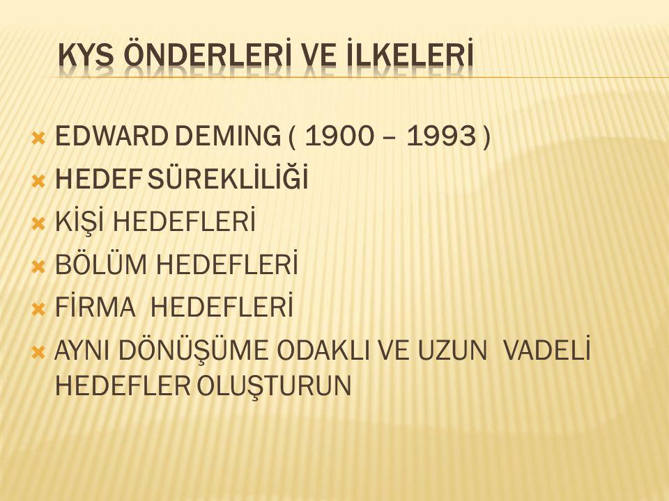  EDWARD DEMING ( 1900 – 1993 )  HEDEF SÜREKLİLİĞİ  KİŞİ HEDEFLERİ  BÖLÜM HEDEFLERİ  FİRMA HEDEFLERİ  AYNI DÖNÜŞÜME ODAKLI VE UZUN VADELİ HEDEFLE