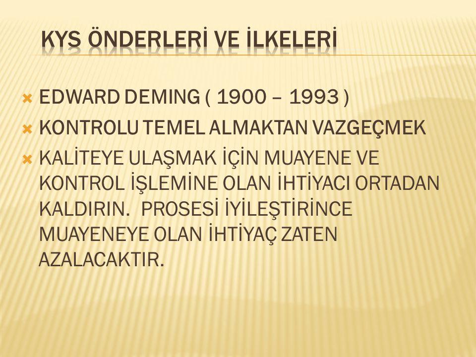  EDWARD DEMING ( 1900 – 1993 )  KONTROLU TEMEL ALMAKTAN VAZGEÇMEK  KALİTEYE ULAŞMAK İÇİN MUAYENE VE KONTROL İŞLEMİNE OLAN İHTİYACI ORTADAN KALDIRIN