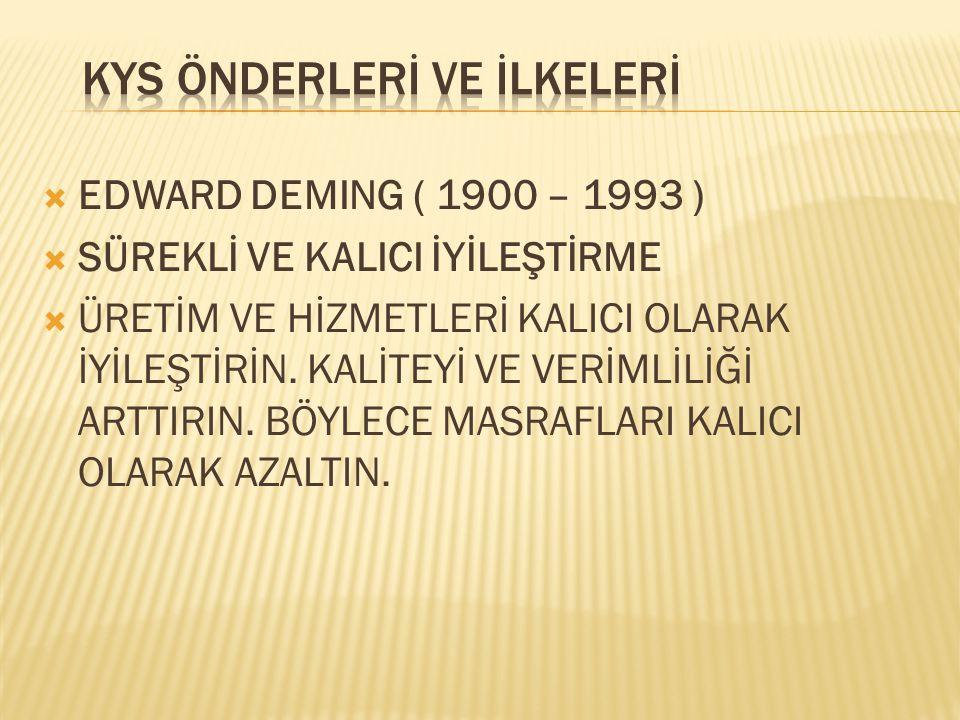  EDWARD DEMING ( 1900 – 1993 )  SÜREKLİ VE KALICI İYİLEŞTİRME  ÜRETİM VE HİZMETLERİ KALICI OLARAK İYİLEŞTİRİN. KALİTEYİ VE VERİMLİLİĞİ ARTTIRIN. BÖ