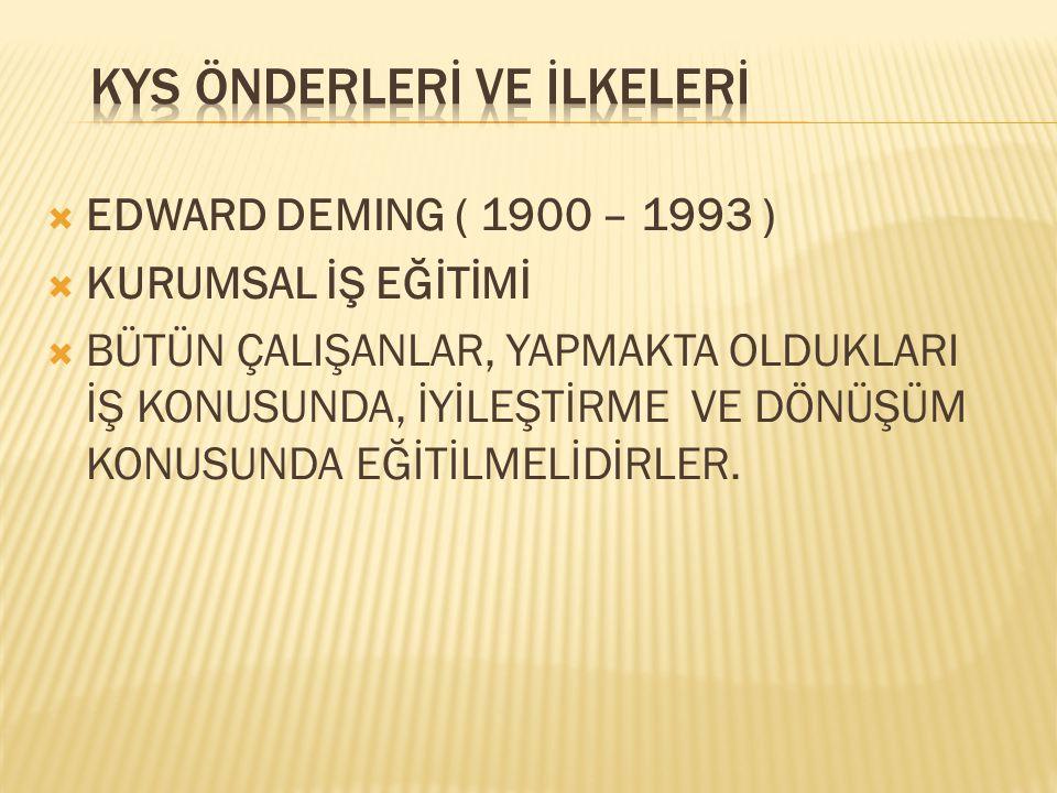  EDWARD DEMING ( 1900 – 1993 )  KURUMSAL İŞ EĞİTİMİ  BÜTÜN ÇALIŞANLAR, YAPMAKTA OLDUKLARI İŞ KONUSUNDA, İYİLEŞTİRME VE DÖNÜŞÜM KONUSUNDA EĞİTİLMELİ