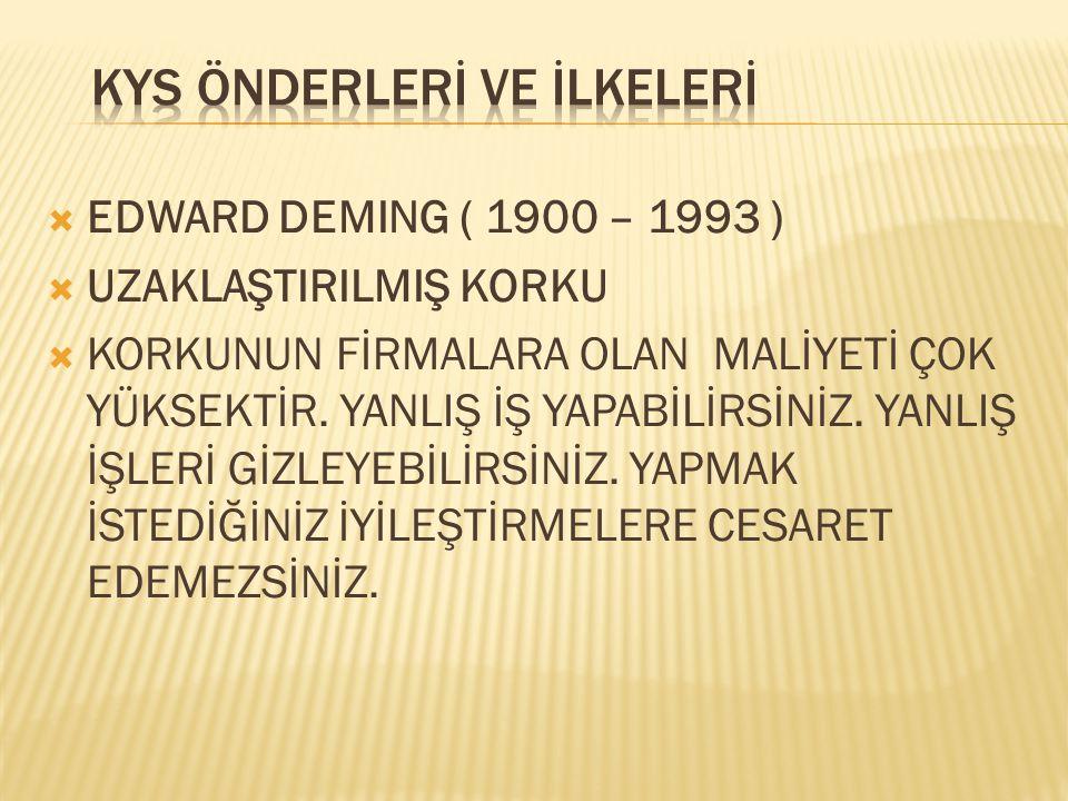  EDWARD DEMING ( 1900 – 1993 )  UZAKLAŞTIRILMIŞ KORKU  KORKUNUN FİRMALARA OLAN MALİYETİ ÇOK YÜKSEKTİR. YANLIŞ İŞ YAPABİLİRSİNİZ. YANLIŞ İŞLERİ GİZL