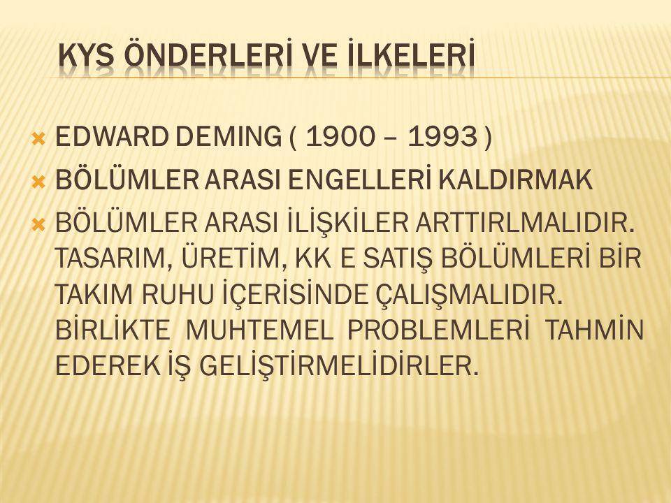  EDWARD DEMING ( 1900 – 1993 )  BÖLÜMLER ARASI ENGELLERİ KALDIRMAK  BÖLÜMLER ARASI İLİŞKİLER ARTTIRLMALIDIR. TASARIM, ÜRETİM, KK E SATIŞ BÖLÜMLERİ