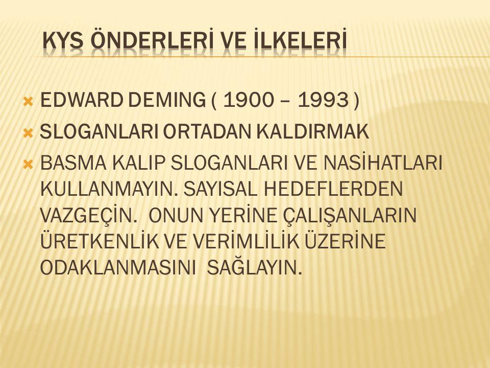  EDWARD DEMING ( 1900 – 1993 )  ÇALIŞMA STANDARTLARINI KALDIRMAK  ÇALIŞANLARIN YAPTIKLARI İŞEN GURUR DUYMALARINI ENGELLEYEN SINIRLARI KALDIRIN.