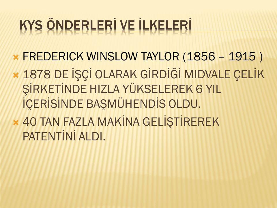  FREDERICK WINSLOW TAYLOR (1856 – 1915 )  1878 DE İŞÇİ OLARAK GİRDİĞİ MIDVALE ÇELİK ŞİRKETİNDE HIZLA YÜKSELEREK 6 YIL İÇERİSİNDE BAŞMÜHENDİS OLDU. 