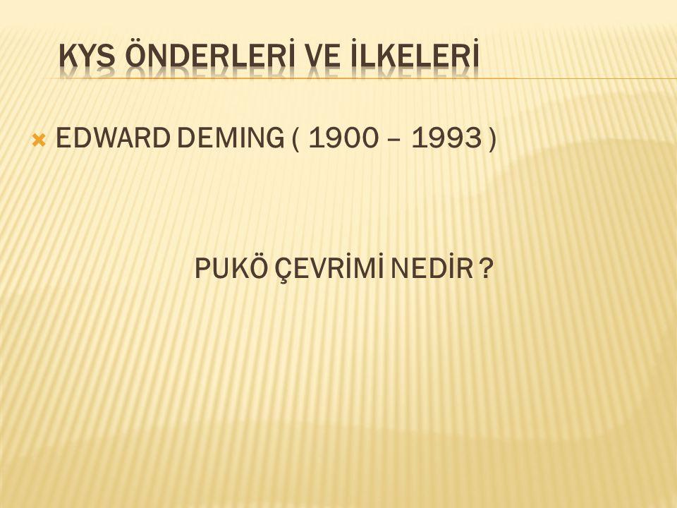  EDWARD DEMING ( 1900 – 1993 ) PUKÖ ÇEVRİMİ NEDİR ?